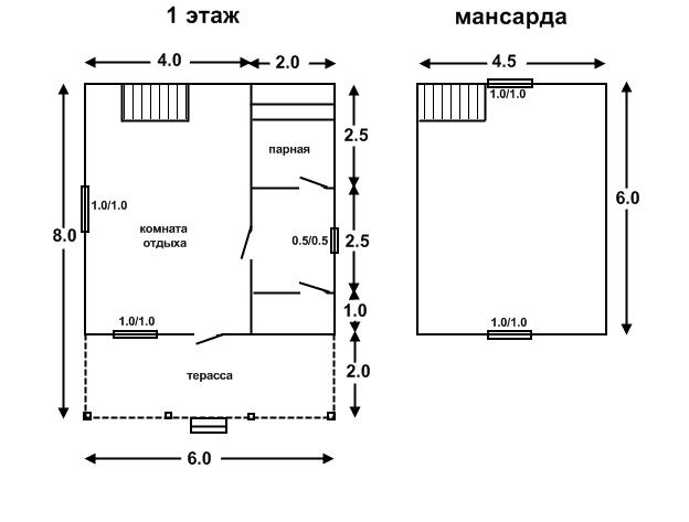 6х6 с террасой 2х6 и мансардой под ключ